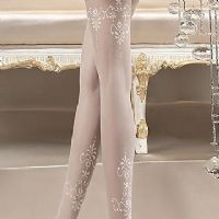 White Patterned Bridal Tights, Ballerina 118